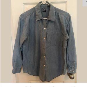 Gap Womens Shirt Long Sleeve Light Denim Size SM